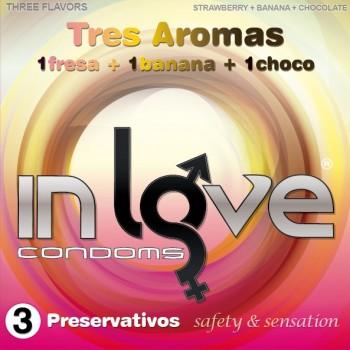 Caja 3uds– 3 Aromas (Fresa, Banana y Chocolate) IN LOVE CONDOMS
