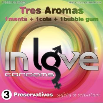 Caja 3uds– 3 Aromas (1 Menta, 1 Cola y 1 Bubble Gum) IN LOVE CONDOMS